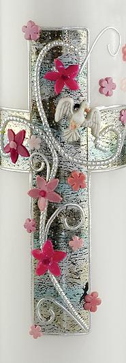 Kommunionkerze Taufkerze Kreuz Blumen Strass rosa